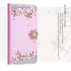 Price Compare Luxurious Women Handmade Rhinestone Diamond Leather Wallet Cover Case For Lenovo A536 Intl