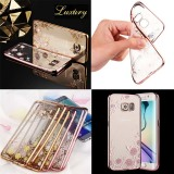 Luxury Diamond Rhinestone Soft Tpu Mobile Phone Back Cover Case For Samsung S7 Edge Gold Pink Intl Free Shipping