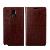 The Cheapest Luxury Genuine Leather Wallet Case Cover For Samsung Galaxy Note 4 Dark Brown Intl Online