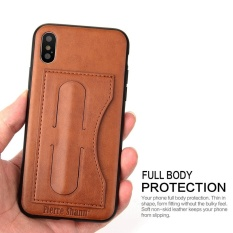 Price Comparison For Luxury Leather Card Slot Phone Case For Iphone X Armor Slim Drawing Back Cover Case With Hidden Phone Holder Stand Fundas For Iphonex Intl