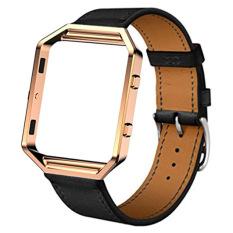 Luxury Leather Watch band Wrist Strap + Metal Frame For Fitbit Blaze Smart Watch (Black