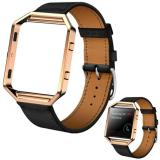 Price Comparisons Luxury Leather Watch Band Wrist Strap Metal Frame For Fitbit Blaze Watch Rd Intl