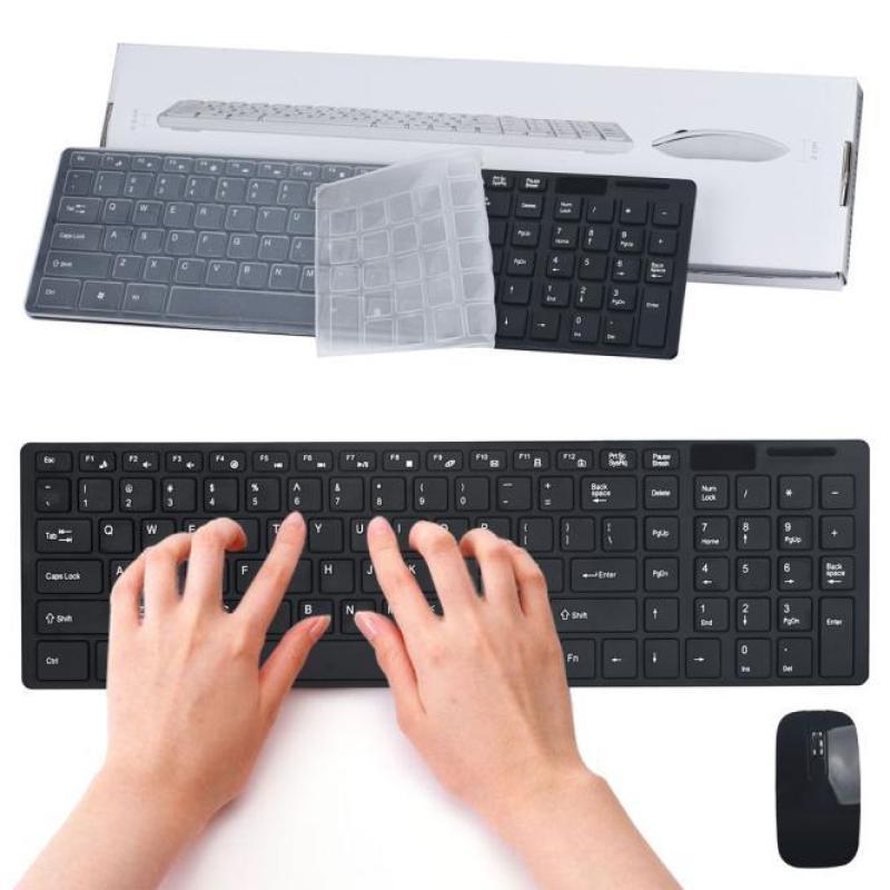 Luxury Ultra Slim Mini 2.4G Wireless Optical Keyboard Mouse Kit For PC Laptop - intl Singapore
