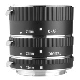 New Macro Af Auto Focus Extension Tube Set Aluminum For Canon Ef Camera Caps Dc373 Sz Black