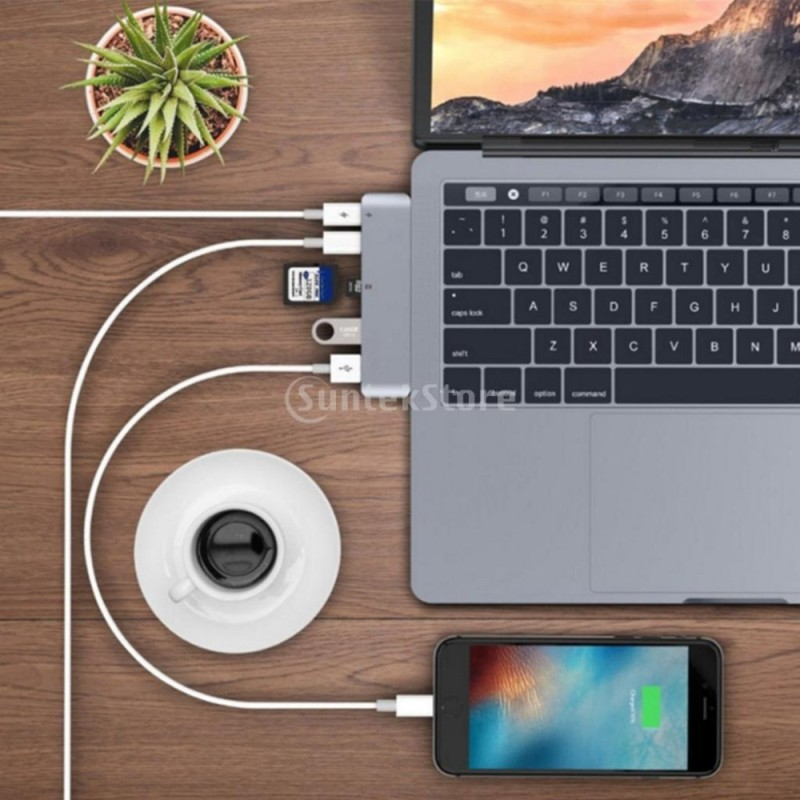 MagiDeal 6 In1 USB C Type C Adapter +SD Card Reader+2 USB 3.0 For MacBook Pro Grey - intl