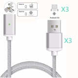 Brand New Magnetic Clip On Usb Fast Charging And High Speed Data Transmission Sync Braided Wire 3 In 1 Magnetic Lightingmicro Usbtype C Mini Metal Adapter For Ios Or Android(3 Magnetic Charging Data Cable And 3 Micro Usb Connector) Intl