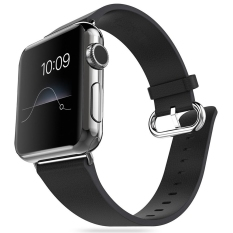 Best Price Miimall Genuine Leather Strap Wrist Band Replacement W Metal Clasp Adapter For Apple Watch 42Mm Series 2 Series 1 Black