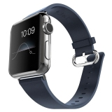 Latest Miimall Genuine Leather Strap Wrist Band Replacement W Metal Clasp Adapter For Apple Watch 42Mm Series 2 Series 1 Dark Blue