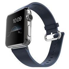 Best Reviews Of Miimall Genuine Leather Strap Wrist Band Replacement W Metal Clasp Adapter For Apple Watch 42Mm Series 2 Series 1 Dark Blue