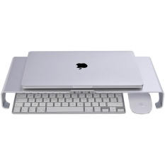 Discount Monitor Riser Stand Universal Aluminium Steady Monitor Laptop Imac Macbook Pc Stand With Keyboard Storage Silver Intl China