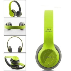 Multifunctional Wireless P47 Bluetooth V4 1 Stereo Headset Compatible With 3 5 Mm Audio Cable Support Music Card Fm Radio Over Ear Foldable Headset For Smart Phones Tablets And Computers Matte Colors Color Green Style Green Intl On China