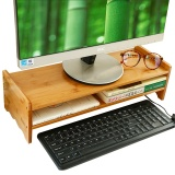 Compare Price Natural Bamboo Wood Desk Organizing Computer Monitor Riser Stand Keyboard Letter Tray File Holder Paper Storage For Home Office Intl On China