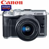 Discount New Model Canon Eos M6 Ef M 15 45Mm Is Stm Lens Silver Silver Canon On Singapore
