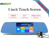Review Newest 5 Inch Touch Screen Car Dvrs Fh 1080P Dual Lens Car Camera Super Night Vision Review Mirror Car Dvrs Detector Dash Camera Intl Aibot