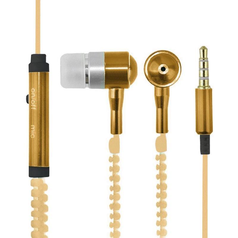 niceEshop 3.5mm Jack In-ear Earphones Metal Zipper Luminous Light Glowing Headset Stereo Handsfree With Microphone (Gold) - intl Singapore