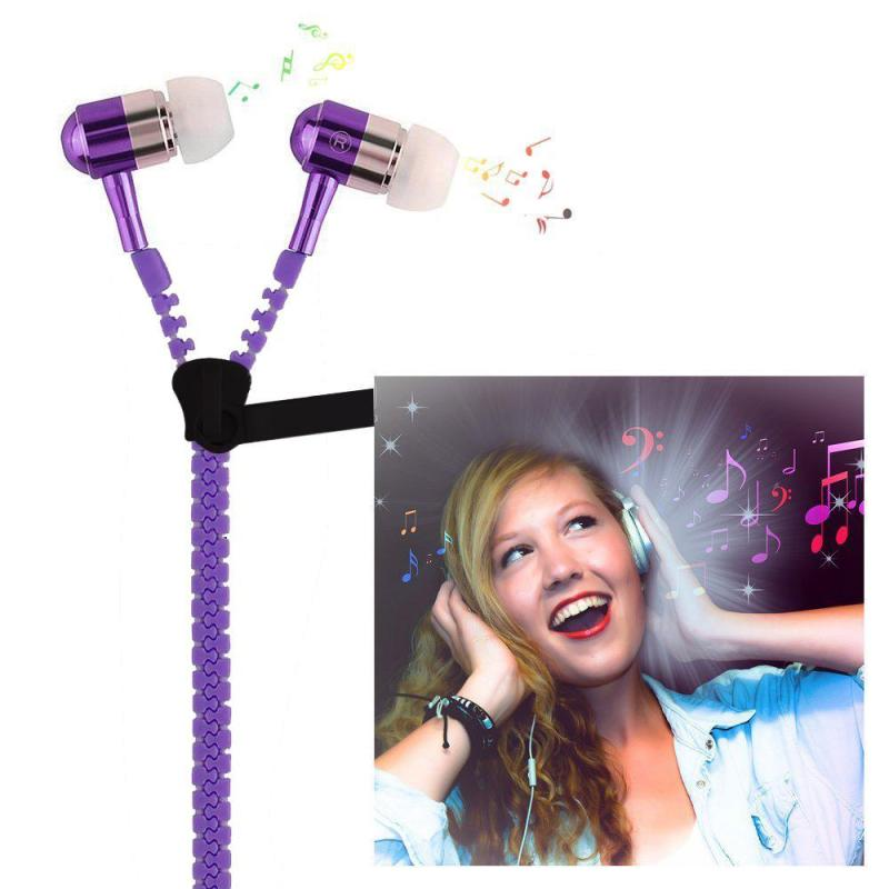 niceEshop 3.5mm Jack In-ear Earphones Metal Zipper Luminous Light Glowing Headset Stereo Handsfree With Microphone (Purple) - intl Singapore