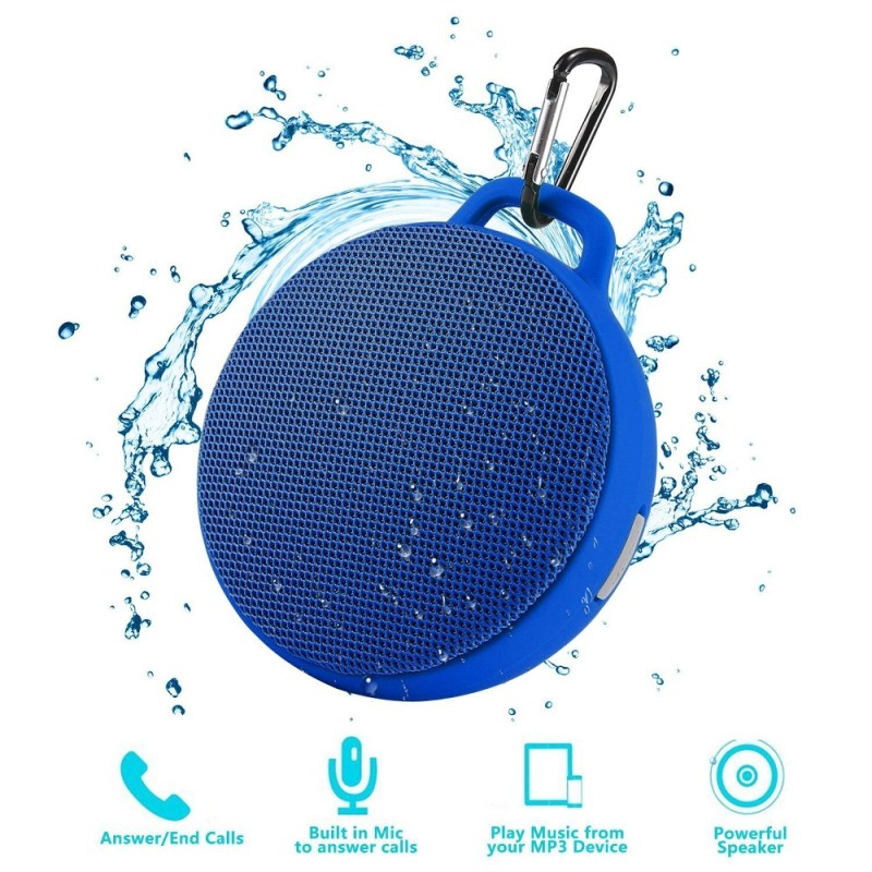 niceEshop Bluetooth Speaker, Waterproof Wireless Outdoor/Indoor Speaker With 3W Output Power,2 Hours Continuous Play, Built-in Mic Portable Speaker (Blue) - intl Singapore