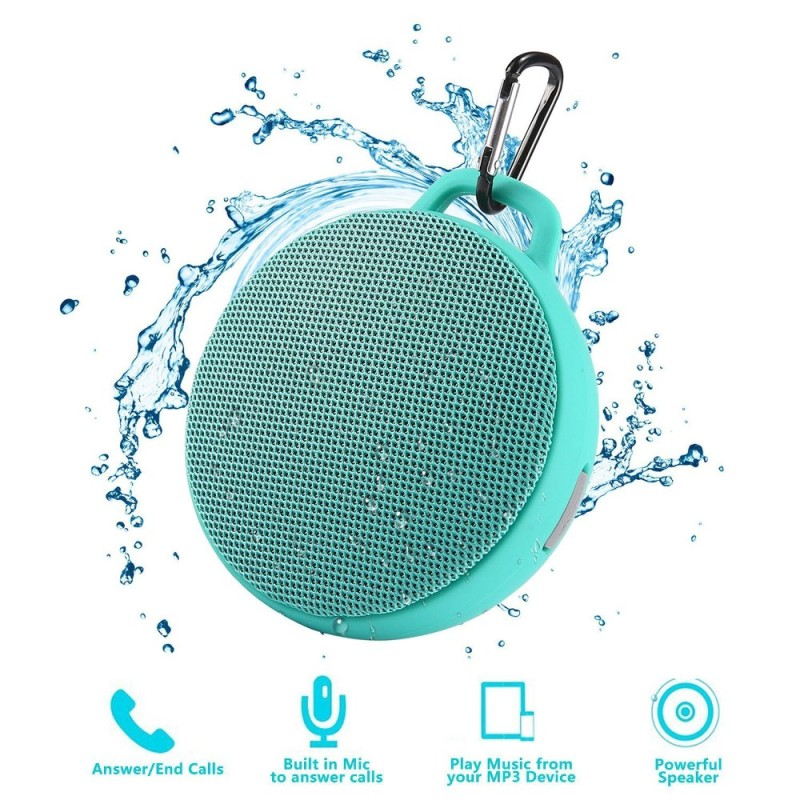 niceEshop Bluetooth Speaker, Waterproof Wireless Outdoor/Indoor Speaker With 3W Output Power,2 Hours Continuous Play, Built-in Mic Portable Speaker (Green) - intl Singapore