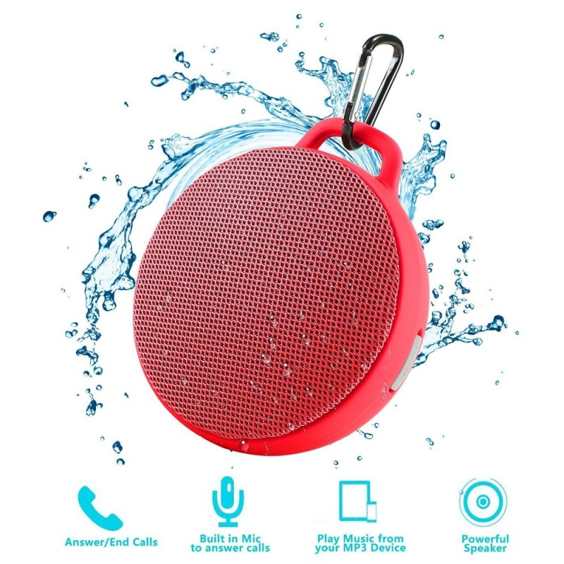 niceEshop Bluetooth Speaker, Waterproof Wireless Outdoor/Indoor Speaker With 3W Output Power,2 Hours Continuous Play, Built-in Mic Portable Speaker (Red) - intl Singapore