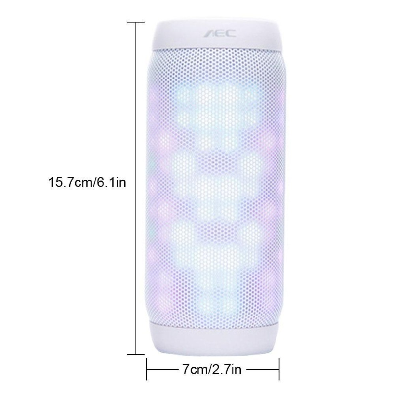niceEshop Bluetooth Speakers Hi-Fi Ultra Portable LED Stereo Speaker 6 Light Modes, Built-in Microphone Hand-free Phone Call, Water Resistant, TF Card Play, FM Radio For SmartPhone Tablets PC And More (White) - intl Singapore