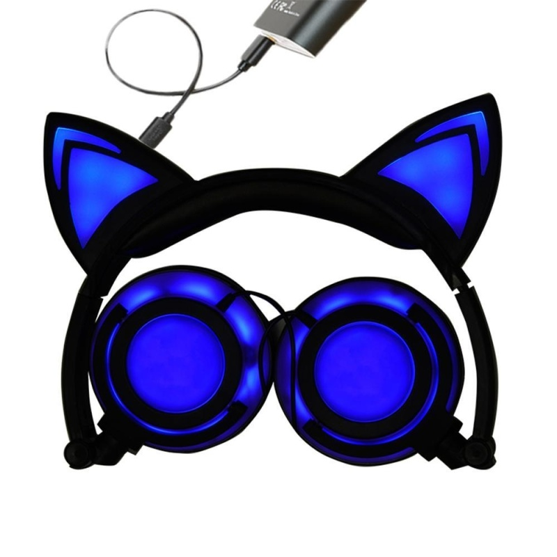 niceEshop Cat Ear Headphones Wired Over-Ear Foldable LED Gaming Flashing Lights Headset With USB Charging Computer Phone Atmosphere Earphone For Adult, Kids, Children, Girls, Boys (Blue, New Version) - intl Singapore