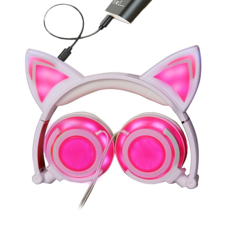 niceEshop Cat Ear Headphones Wired Over-Ear Foldable LED Gaming Flashing Lights Headset With USB Charging Computer Phone Atmosphere Earphone For Adult, Kids, Children, Girls, Boys (Pink, New Version) - intl Singapore