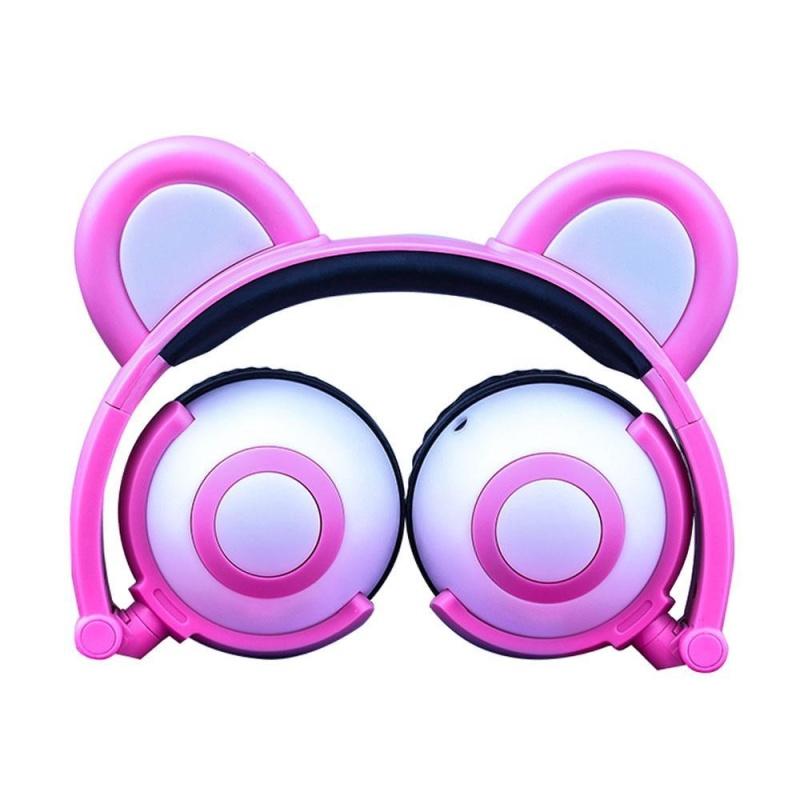 niceEshop Kids Headphones Bear Wired Ear Headphones With Microphone Stereo Fashion Glowing Lightweight Adjustable Foldable Headset For Kids Boys Girl Adult (Black/Blue) - intl Singapore