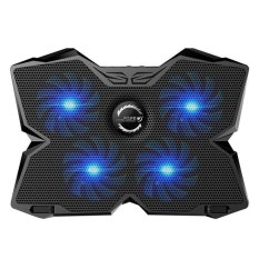 niceEshop KOBWA Laptop Cooler Cooling Pad Stand Ultra-quiet Gaming Notebook Cooler For 15.6-17 Inch Laptops With 1200 RPM 4 Fans, Dual USB Port And Multi Tilt Angle Option.(Blue) - intl