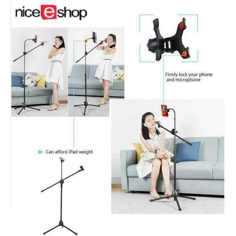 niceEshop Music Mic Microphone Stand Tablet Mount With 360° Swivel Adjust Holder - intl Singapore
