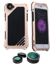 Cheapest Niceeshop Oxoqo Iphone 6 Plus 6S Plus Lens Kit 3 In 1 Fisheye Macro Wide Angle Camera Lens With Ip54 Dustproof Shockproof Aluminum Case 5 5 Inches Gold Online
