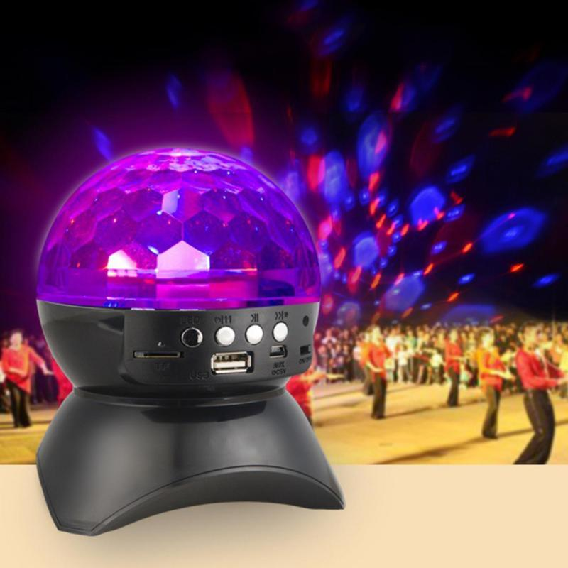 niceEshop Party/ Disco DJ Bluetooth Speaker With Built-In Light Show,Stage & Studio Effects Lighting, RGB Color Changing, LED Crystal Ball Auto Rotating, With Music Player For TF Card, Black - intl Singapore