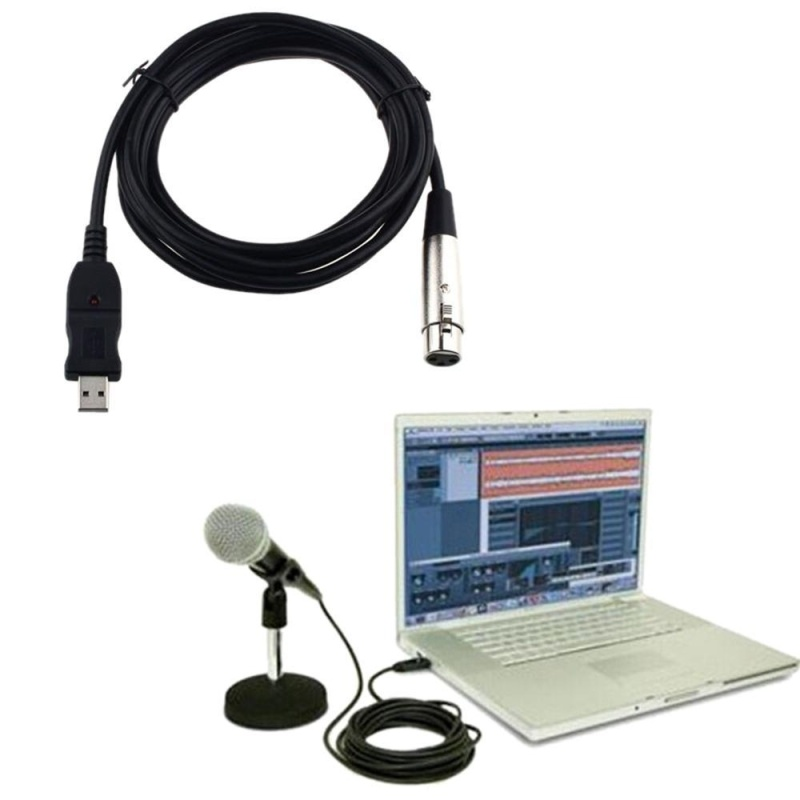 niceEshop USB Male To 3PIN XLR Female Mic Microphone Converter Cable Studio Audio Cable Connector Cords Adapter For Microphones Or Instruments Recording Karaoke Singing- 3m/10ft - intl Singapore