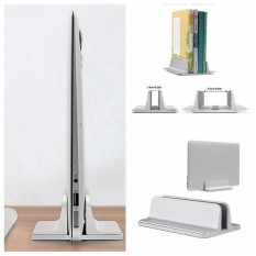 niceEshop Vertical Laptop Stand, Aluminum Alloy Desk Holder Space-Saving Stand For Laptop Notebook, Silver