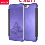 Best Offer Nubula New Fashion 360 Degree Luxury Mirror Clamshell Hard Shell Flip Wallet Case For Oppo R11 Soft Leather Flip Wallet Smart View Mirror Clear View Full Cover Case Intl