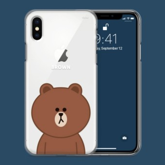 Wholesale Officially Licensed Product Iphone X Line Friends Clear Tpu Jelly Case Basic Brown Intl