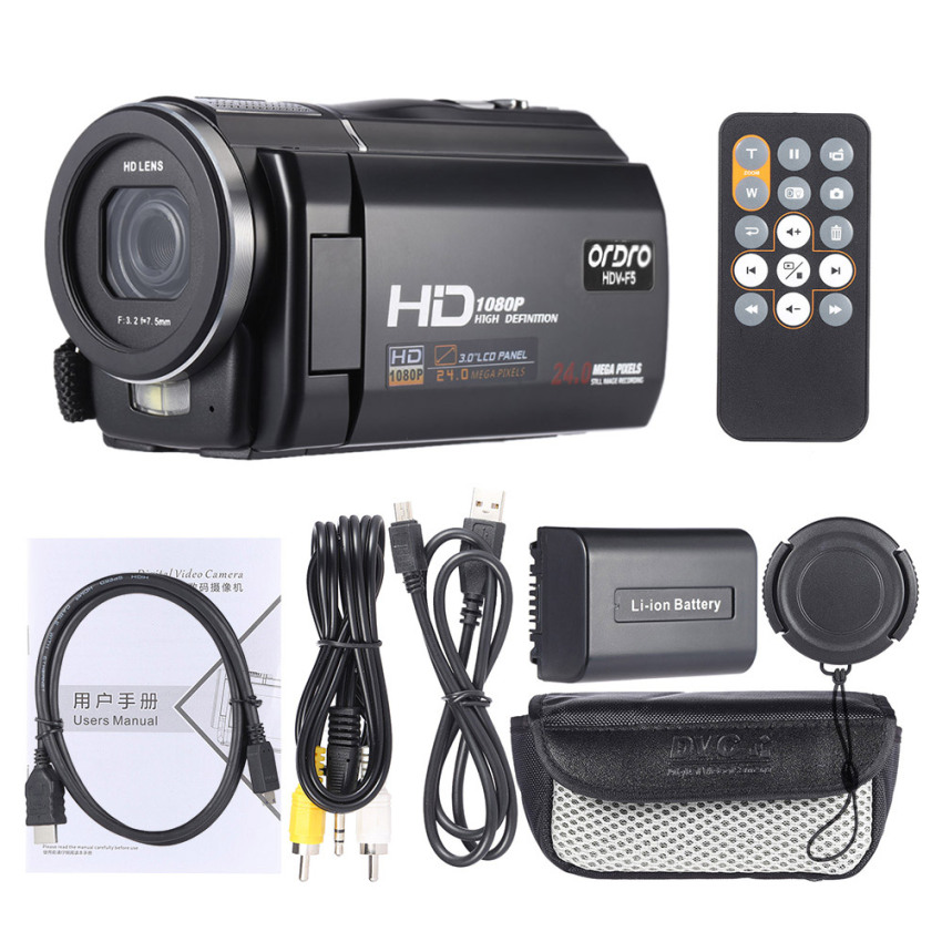 Ordro Hdv F5 1080P Full Hd 3 Rotatable Touch Screen Lcd Digital Video Camera Recorder Camcorder Dv Dvr 24Mp 16X Digital Zoom Anti Shake With Remote Controller Outdoorfree Intl Lowest Price