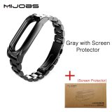Original Mijobs Metal Strap For Xiaomi Mi Band 2 Straps Screwless Stainless Steel Bracelet Replace Accessories For Mi Band 2 With Film Intl Coupon