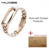 Best Reviews Of Original Mijobs New Metal Straps For Xiaomi Mi Band 2 Bracelet Strap Miband 2 Wristband Replacement Smart Band Accessories For Mi Band 2 With Film Intl