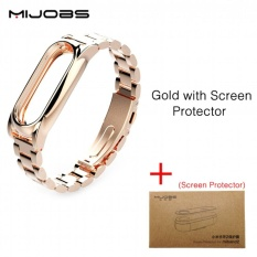 Top 10 Original Mijobs New Metal Straps For Xiaomi Mi Band 2 Bracelet Strap Miband 2 Wristband Replacement Smart Band Accessories For Mi Band 2 With Film Intl