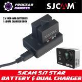 Best Offer Original Sjcam Sj7 Star Battery Dual Channel Charger Kit 2 X 1000Mah Battery Dual Charger Dock