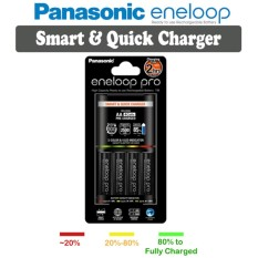 Panasonic Eneloop Bq-Cc55 2hrs Smart And Quick Charger + 4 Piece Aa Pro Eneloop Rechargeable Batttery By Icm Photography.