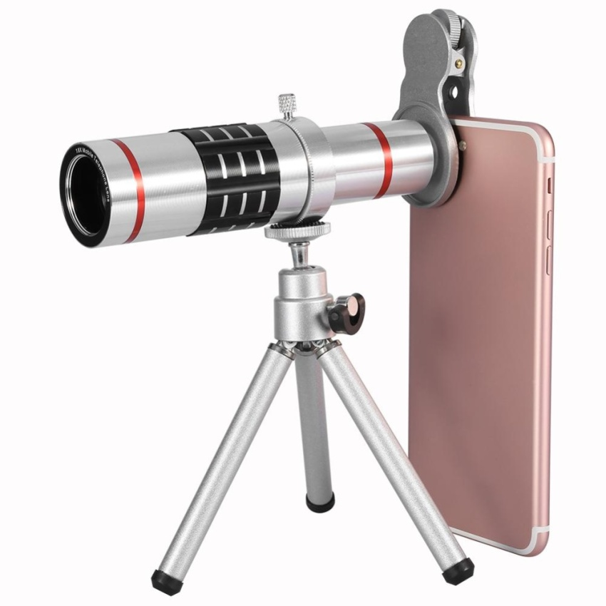 Phone Camera Lens Kit Universal 18X Optical Zoom Telephoto Telescope Lens With Tripod Silver Intl Review