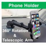 Phone Holder 360O Adustable With Telescopic Arm For Windshield Or Dashboard Singapore Seller In Stock