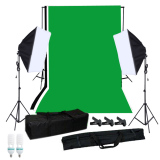 Price Photography Softbox Lighting Kit With Studio Background Stand Black White Green Backdrop 125W Light Bulbs Single Capped Softbox Lighting Stand Mini Clips Export Not Specified Original