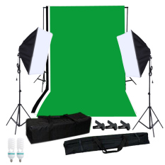 Sale Photography Softbox Lighting Kit With Studio Background Stand Black White Green Backdrop 125W Light Bulbs Single Capped Softbox Lighting Stand Mini Clips Export On Singapore