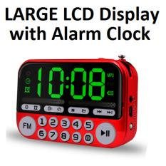 Buy Cheap Portable Fm Radio With Large Lcd Display Speaker Mp3 Player Clock Usb Torch Red