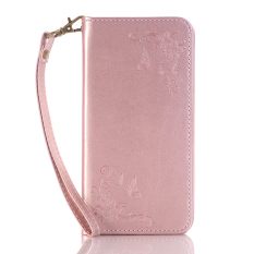 Price Comparisons For Print Butterfly Fly Flower Pu Leather Flip Wallet Cell Phone Case And Soft Tpu Cover For Samsung Galaxy J3 Pro Pink