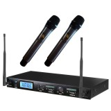 Top Rated Pro Wireless Uhf 2 Channal Auto Microphone System Dual Handheld Mic Lcd110V 240V Uk Plug Intl