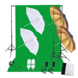 Professional Photography Photo Lighting Kit Set With 45W 5500K Daylight Studio Bulbs Light Stands Black White Green Nonwoven Fabric Backdrop Soft Reflector Umbrellas Backdrop Stands Export Lower Price