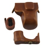 Review Pu Leather Camera Case Bag Cover For Olympus Epl7 E Pl7 14 42Mmlens Strap Brown Intl Oem On China